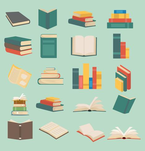 uppsättning böcker i platt designkollektion vektor