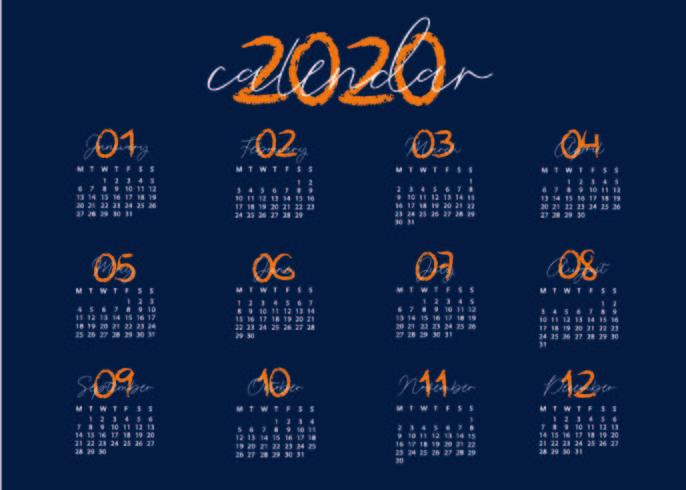 Plantilla de calendario azul y creativo vector