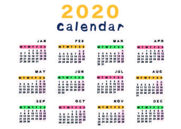 Plantilla de calendario colorido y lindo vector