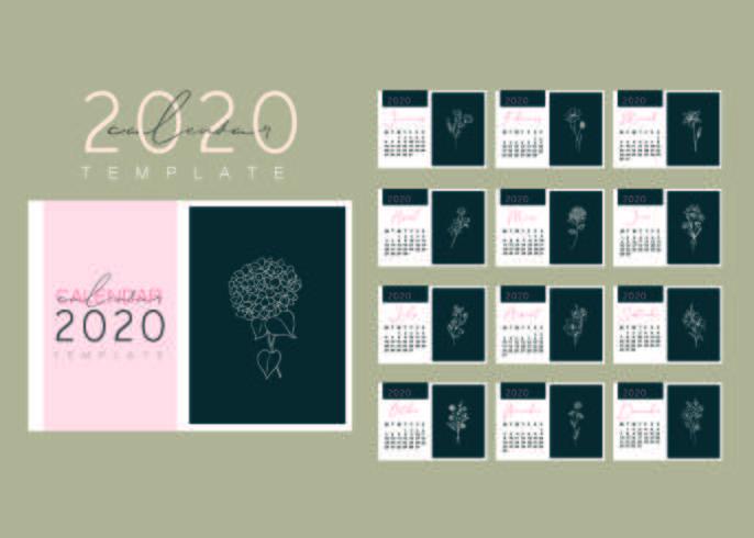 Elegante conjunto de plantillas de calendario floral vector