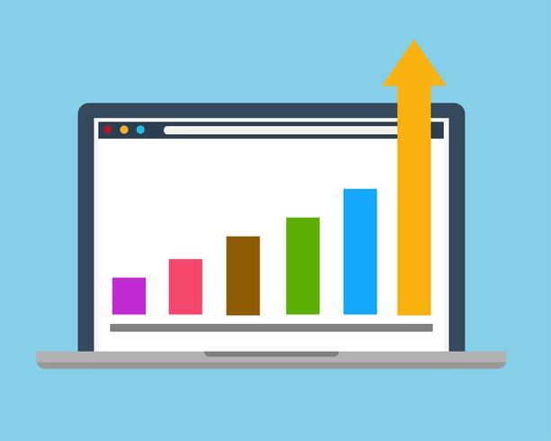 Gráfico de éxito de la empresa digital vector