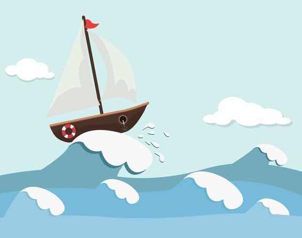 Sfondo carino di barca e onde