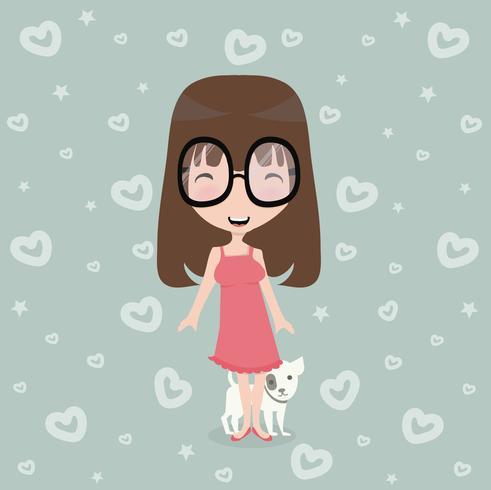 bambina carina con cane