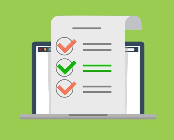 Elenco di controllo digitale su laptop