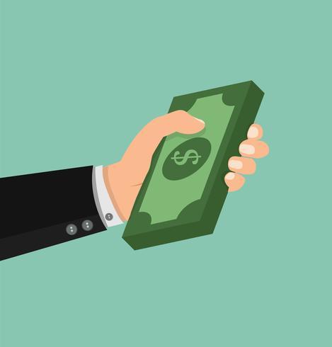Mãos segurando dinheiro vetor