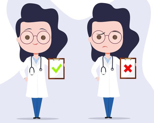 Diagnóstico de personajes de doctora vector