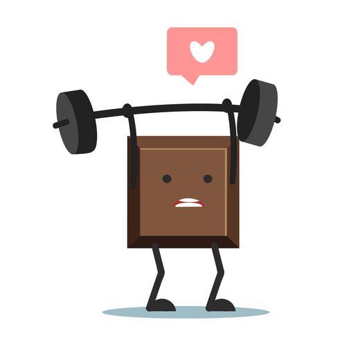 Söt tecknad chokladblock som lyfter vikter