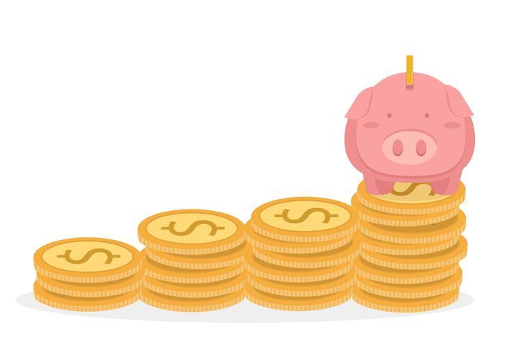 Piggybank e torre de moedas Conceito de economia de dinheiro