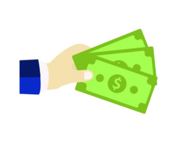 Main donnant de l'argent vecteur