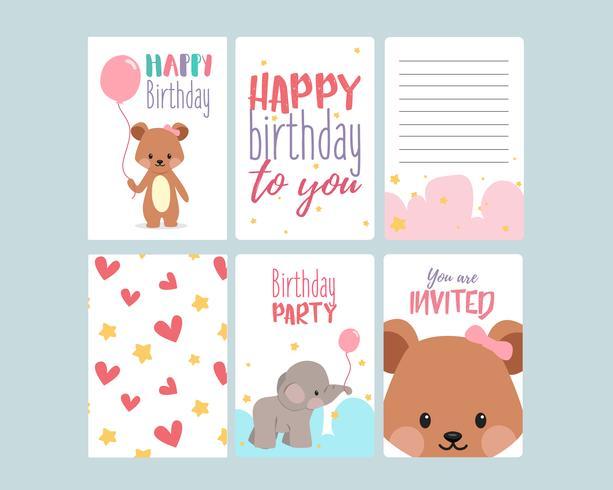 lindas tarjetas de feliz cumpleaños vector