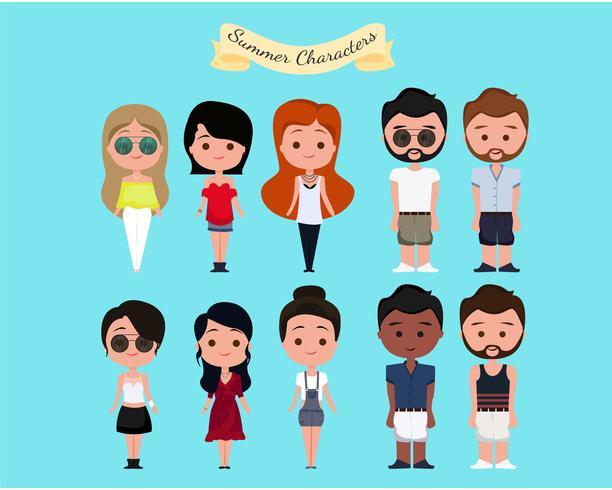 Conjunto de personajes de verano vector