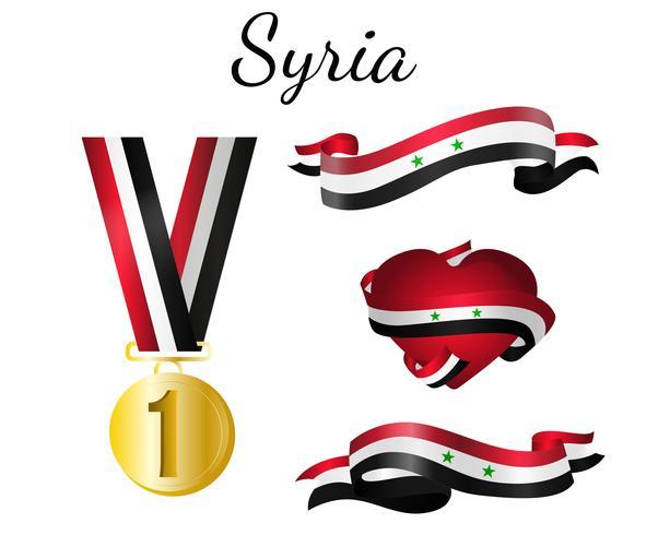 Bandera de medalla de Siria vector