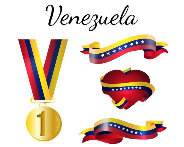 Bandera de medalla de venezuela vector