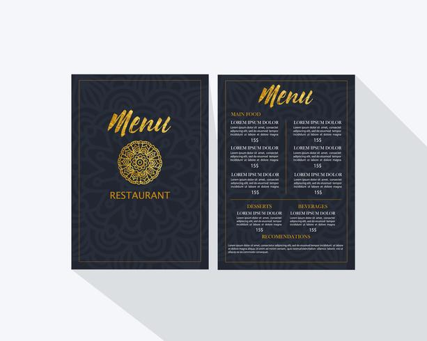 Plantilla de menú de restaurante vector