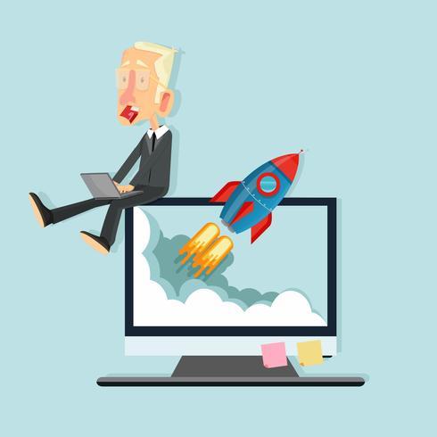 Hombre de negocios sentado en monitor con cohete volando fuera de la pantalla vector