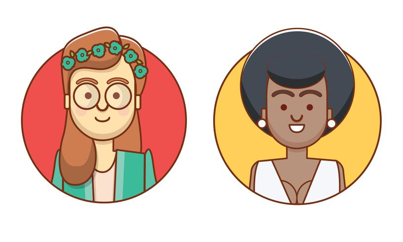Personaggi di icone femminili vettore