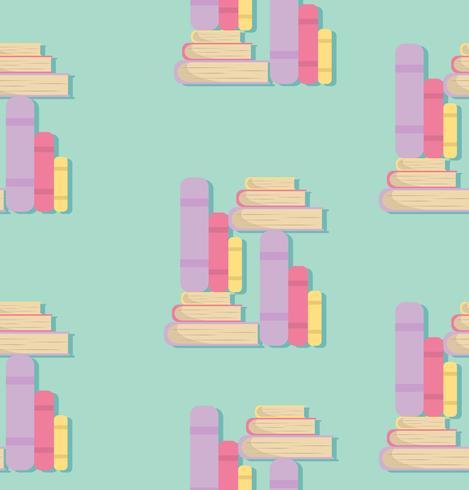boek van stapels in plat ontwerppatroon vector