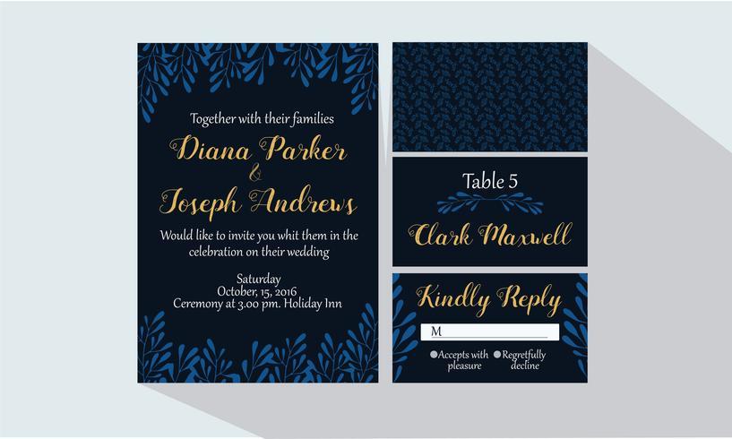 Invitación de boda azul oscuro vector