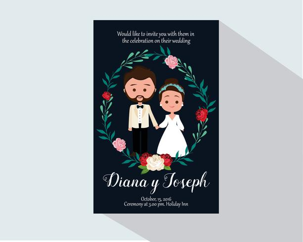 Invitación de boda con personajes vector