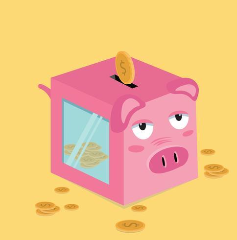 Quadratisches Sparschwein mit Münzen