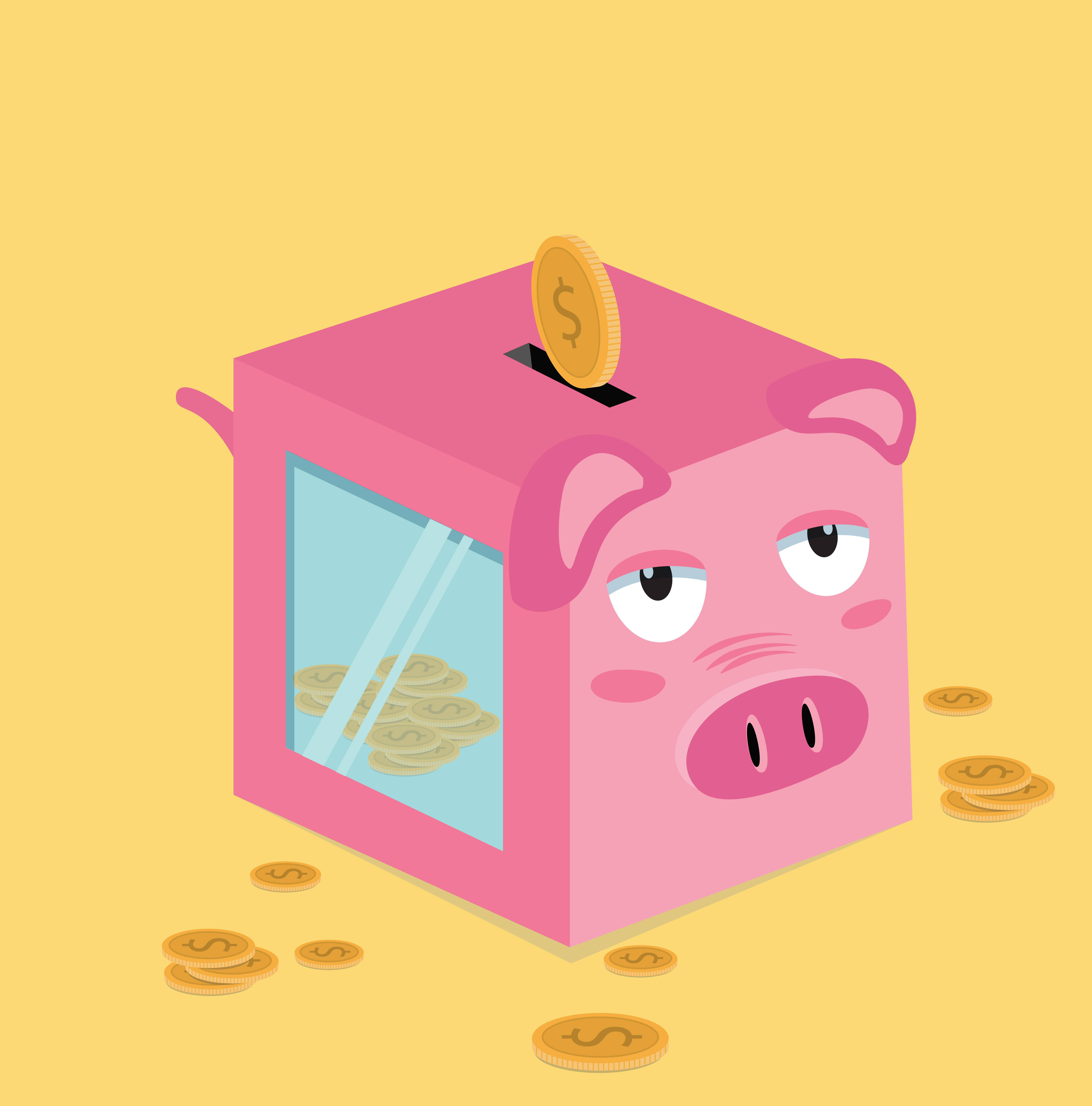 Square Piggy Bank With Coins