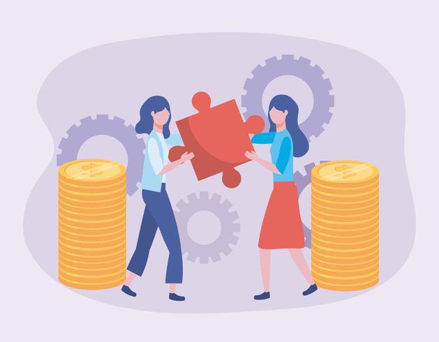 Femmes d'affaires avec pièces de puzzle et pièces de monnaie