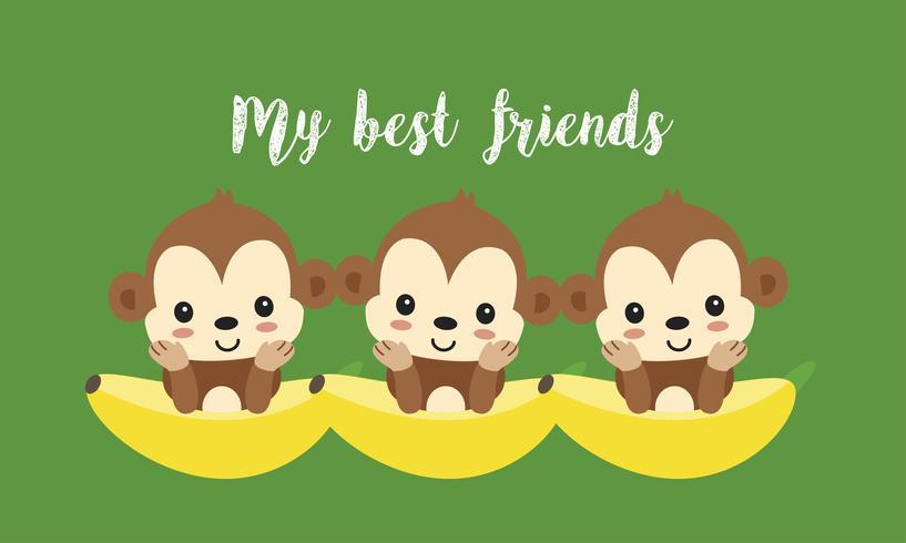 Mejores amigos con monos lindos. Dibujos animados de animales de la selva feliz vector