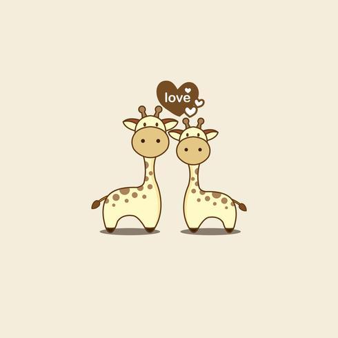 Tarjeta de San Valentín con linda pareja jirafa en el amor. vector