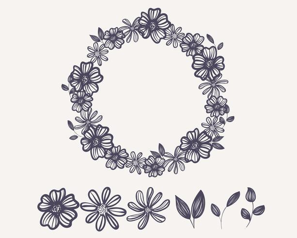 Guirnalda Contorno Flor vector