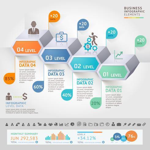 Modello di progettazione infografica affari con 4 livelli o passaggi