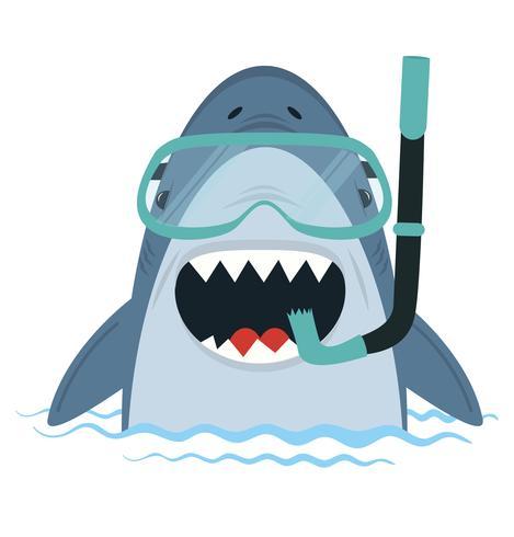 Tiburón Blanco con equipo de buceo en agua vector