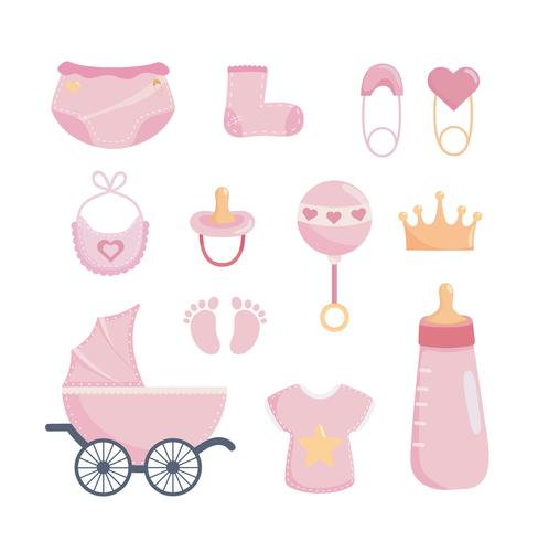 Set of girl baby shower decorations vector