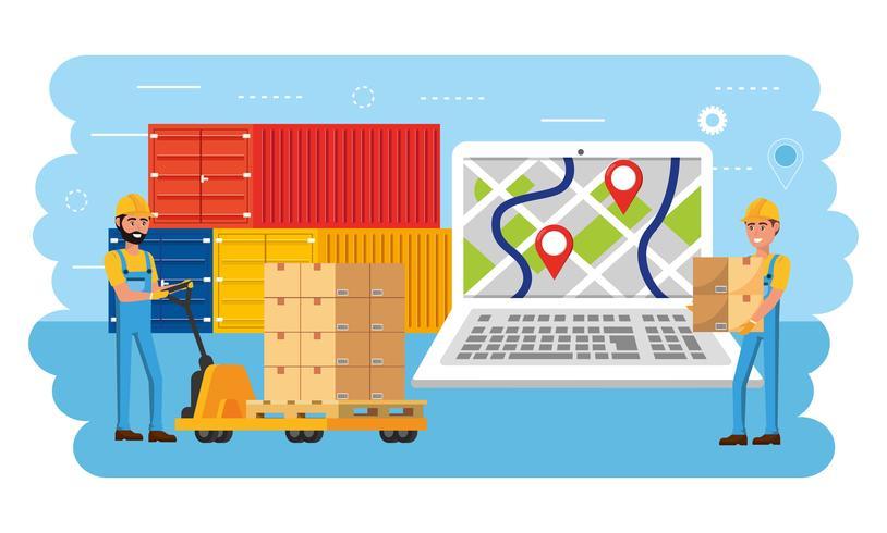Leveringsmensen met lading en pakketten met laptopgps