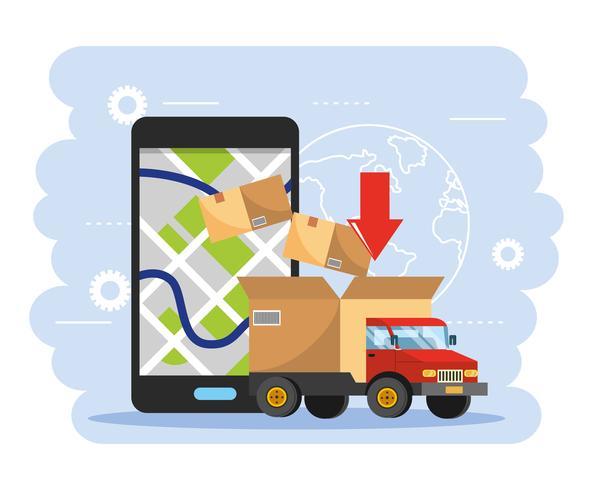 Camión con caja y teléfono inteligente con seguimiento gps vector