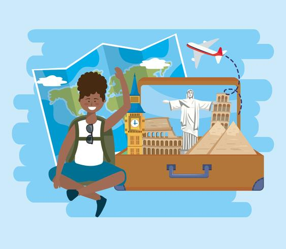 Woman sitting with suitcase with famous landmarks