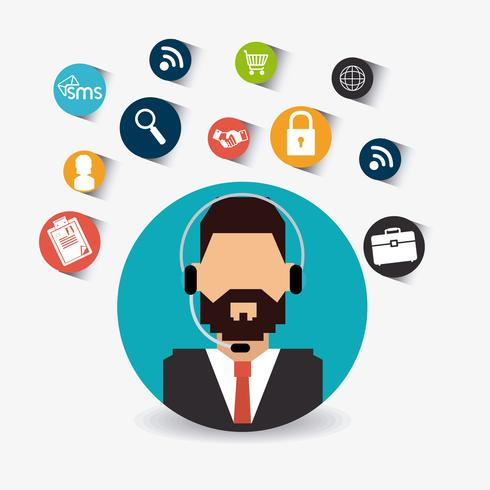 Male Customer service support agent in circular profile vector