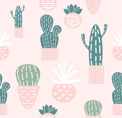 modèle sans couture de cactus doodle