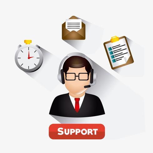Agente web de atención al cliente masculino web 2.0 vector