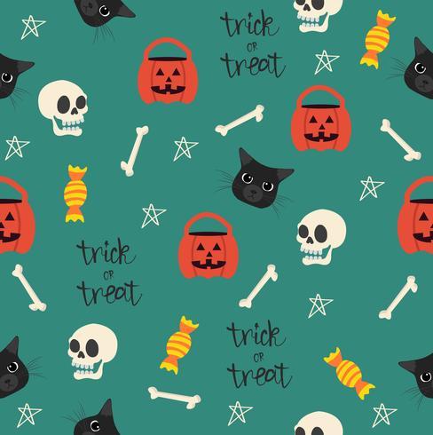 Halloween nahtlos mit Kopfmuster der schwarzen Katze