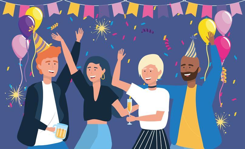 Männer und Frauen tanzen auf Party