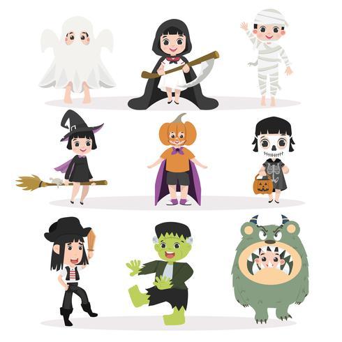 Conjunto de personajes divertidos de Halloween para niños vector