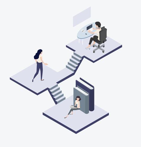 People working and walking Isometric concept vector