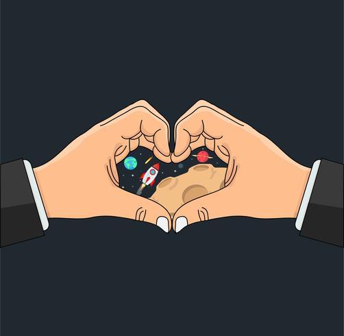 manos en forma de corazón con espacio en el centro vector