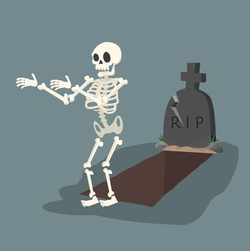 öppen grav och gravsten med skelett
