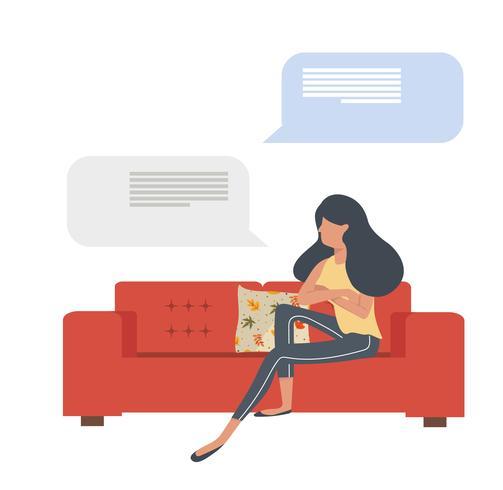 mujer sentada en el sofá rojo con mensajes vector