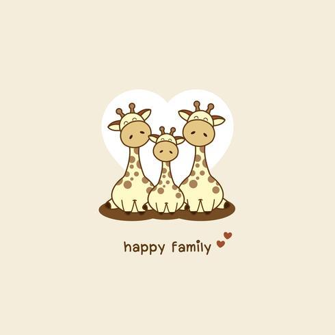 Familia de jirafas. Papá mamá y bebé jirafa de dibujos animados. vector