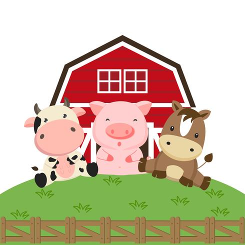 Jordbruksdjur tecknad. Kogris och häst i lantgården.