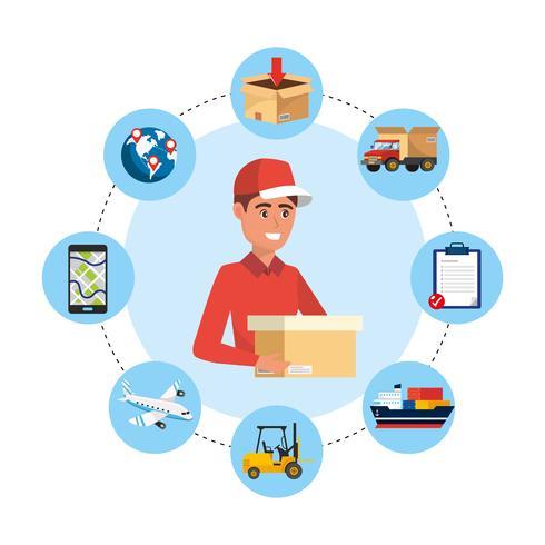 Pacchetto consegna maschio con icone di servizio di consegna