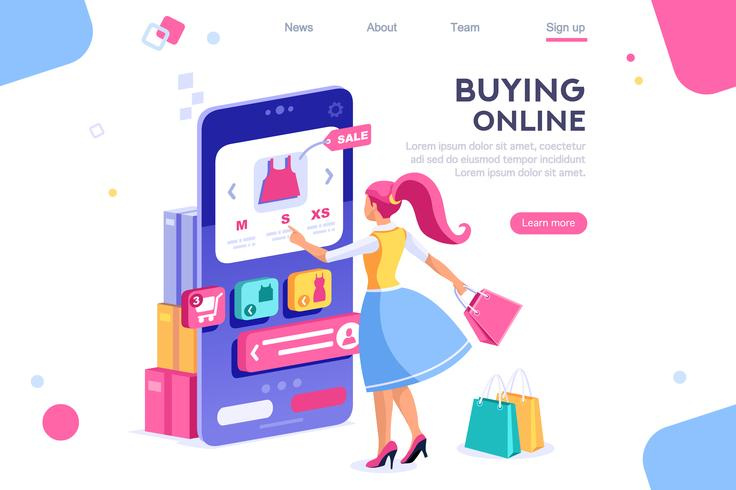 Woman holding bags and shopping online with mobile phone
