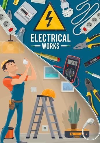 Elektrisk arbetaffisch med elektriker och verktyg